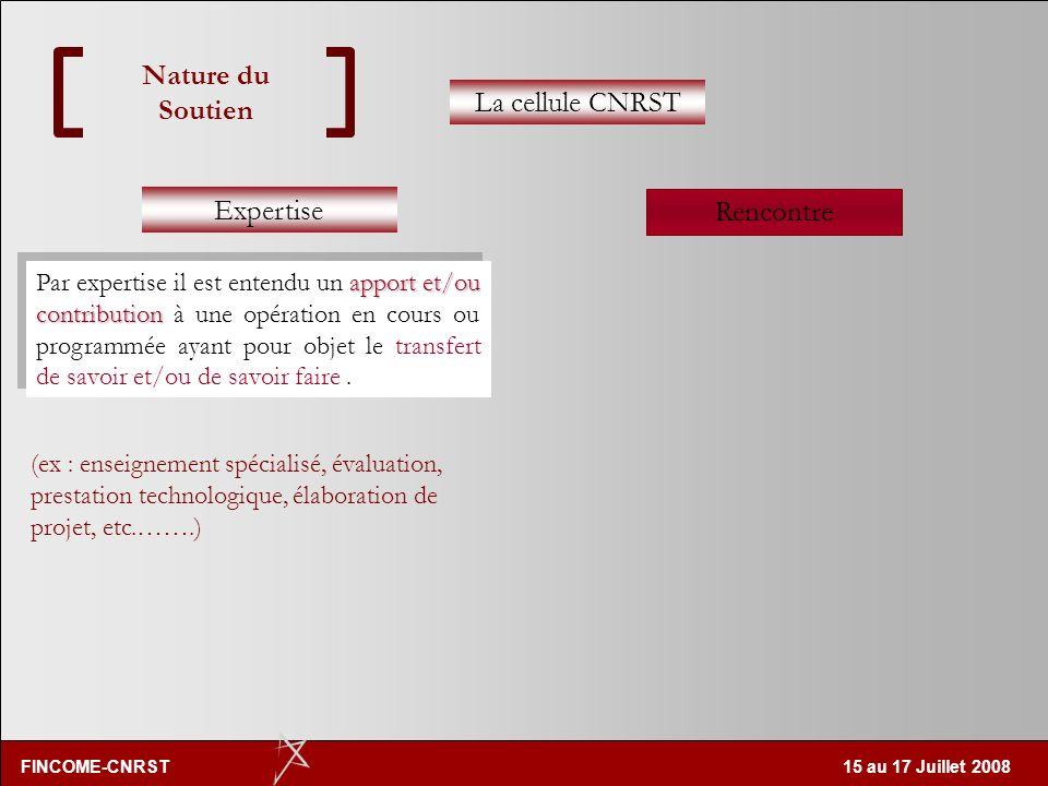 FINCOME-CNRST 15 au 17 Juillet 2008 Nature du Soutien Expertise Rencontre La cellule CNRST