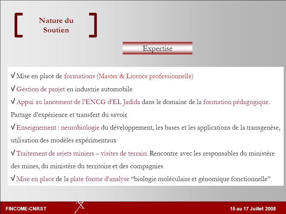 FINCOME-CNRST 15 au 17 Juillet 2008 Nature du Soutien Expertise Rencontre La cellule CNRST apport et/ou contribution Par expertise il est entendu un a