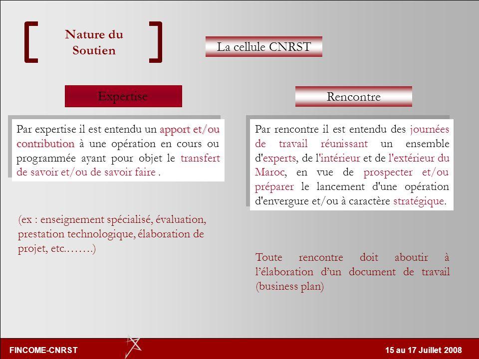 FINCOME-CNRST 15 au 17 Juillet 2008 Nature du Soutien Expertise Mise en place de formations (Master & Licence professionnelle) Gestion de projet en in