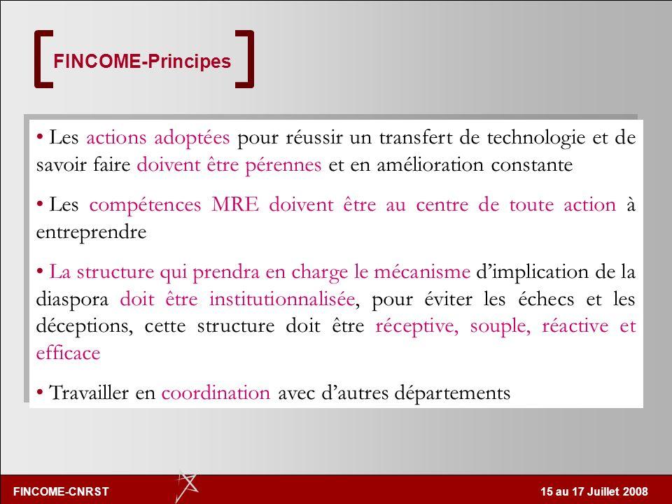 FINCOME-CNRST 15 au 17 Juillet 2008 FINCOME les cadres marocains résidant à l'étranger Le programme FINCOME est une action gouvernementale supervisée