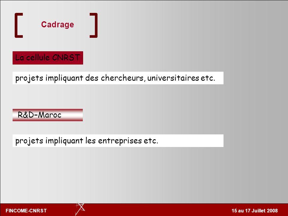 FINCOME-CNRST 15 au 17 Juillet 2008 Cadrage La cellule CNRST R&D–Maroc projets impliquant des chercheurs, universitaires etc