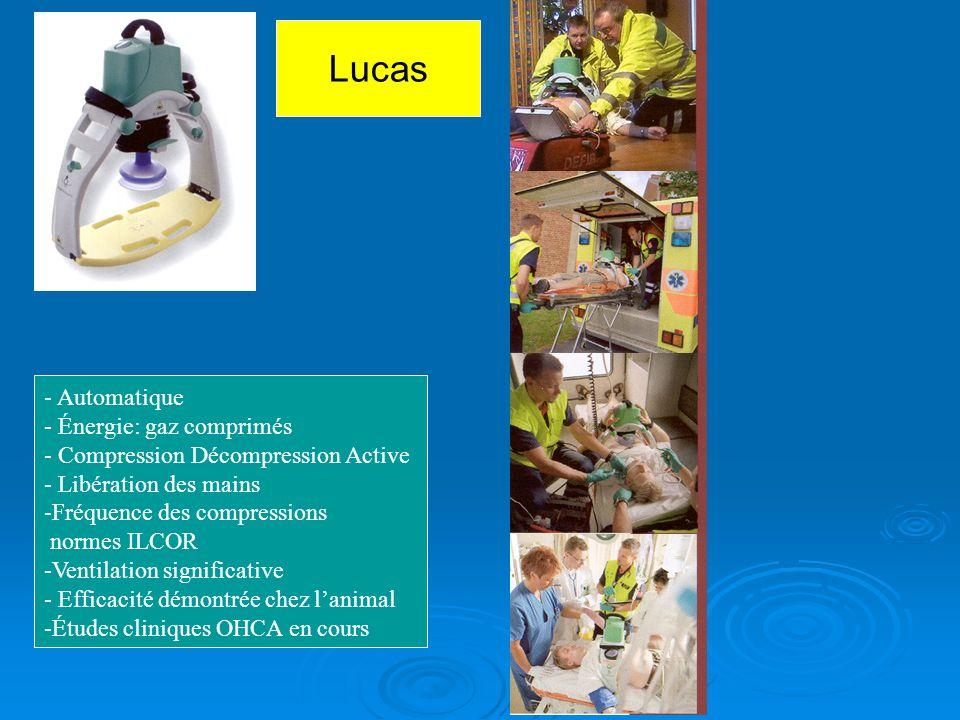 - Automatique - Énergie: gaz comprimés - Compression Décompression Active - Libération des mains -Fréquence des compressions normes ILCOR -Ventilation significative - Efficacité démontrée chez lanimal -Études cliniques OHCA en cours Lucas