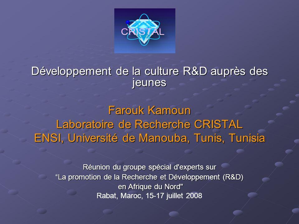 Développement de la culture R&D auprès des jeunes Farouk Kamoun Laboratoire de Recherche CRISTAL ENSI, Université de Manouba, Tunis, Tunisia Réunion d
