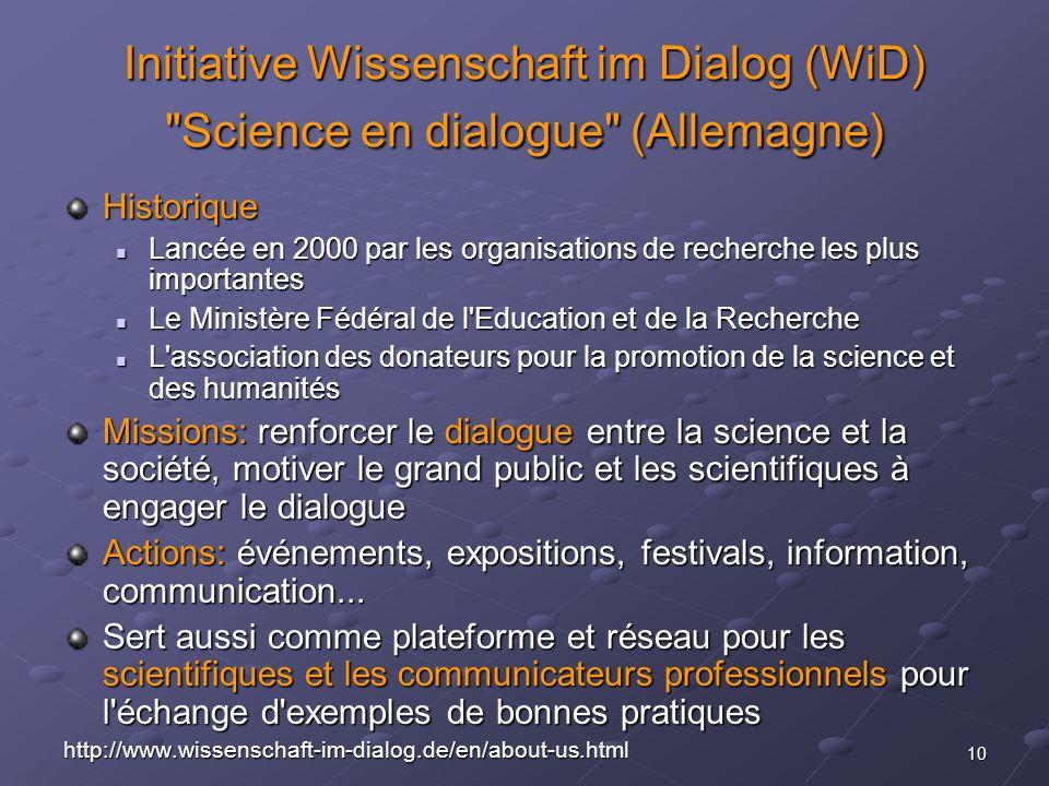 10 Initiative Wissenschaft im Dialog (WiD)