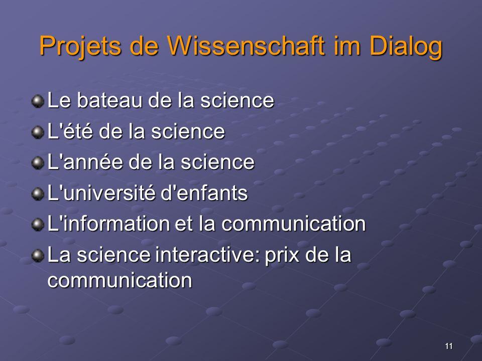 11 Projets de Wissenschaft im Dialog Le bateau de la science L'été de la science L'année de la science L'université d'enfants L'information et la comm