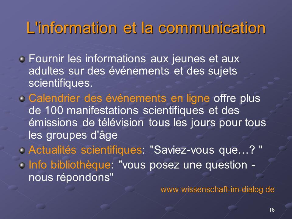 16 L'information et la communication Fournir les informations aux jeunes et aux adultes sur des événements et des sujets scientifiques. Calendrier des