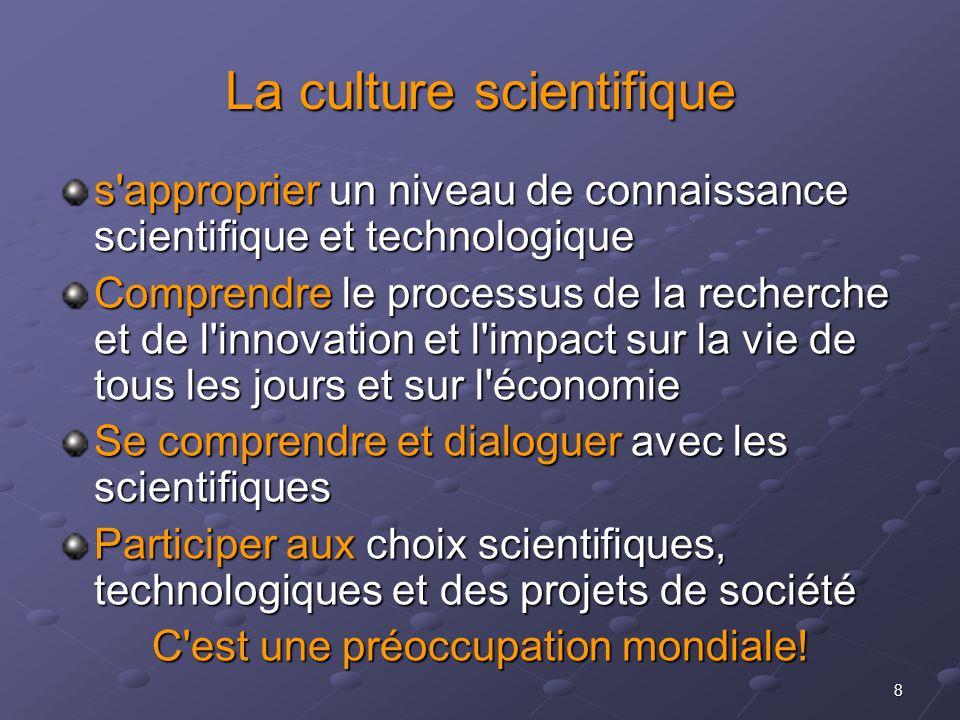 8 La culture scientifique s'approprier un niveau de connaissance scientifique et technologique Comprendre le processus de la recherche et de l'innovat