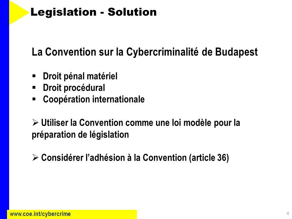 4 www.coe.int/cybercrime Legislation - Solution La Convention sur la Cybercriminalité de Budapest Droit pénal matériel Droit procédural Coopération internationale Utiliser la Convention comme une loi modèle pour la préparation de législation Considérer ladhésion à la Convention (article 36)