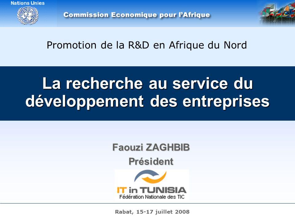 R4D – Rabat – 16/07/2008 – Page 1 La recherche au service du développement des entreprises Faouzi ZAGHBIB Président Promotion de la R&D en Afrique du Nord Rabat, 15-17 juillet 2008