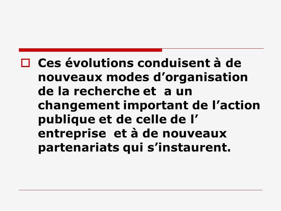 Ces évolutions conduisent à de nouveaux modes dorganisation de la recherche et a un changement important de laction publique et de celle de l entreprise et à de nouveaux partenariats qui sinstaurent.