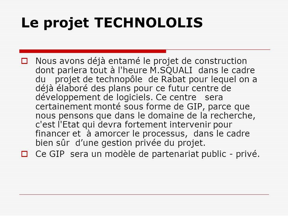 Le projet TECHNOLOLIS Nous avons déjà entamé le projet de construction dont parlera tout à l heure M.SQUALI dans le cadre du projet de technopôle de Rabat pour lequel on a déjà élaboré des plans pour ce futur centre de développement de logiciels.