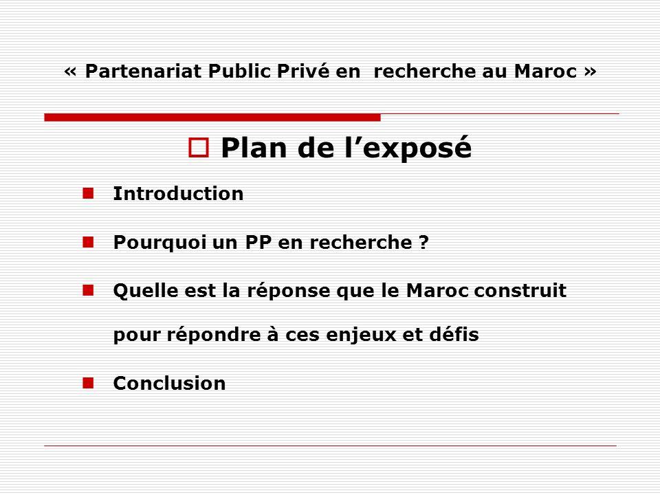 « Partenariat Public Privé en recherche au Maroc » Plan de lexposé Introduction Pourquoi un PP en recherche .