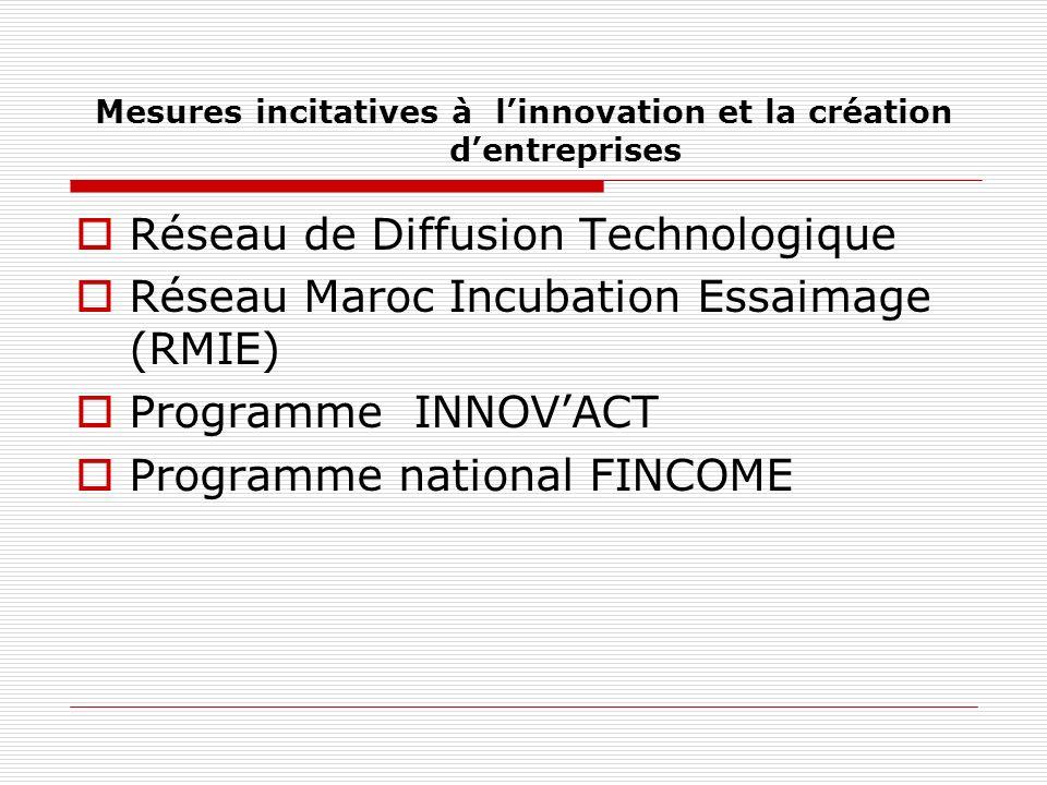 Mesures incitatives à linnovation et la création dentreprises Réseau de Diffusion Technologique Réseau Maroc Incubation Essaimage (RMIE) Programme INNOVACT Programme national FINCOME