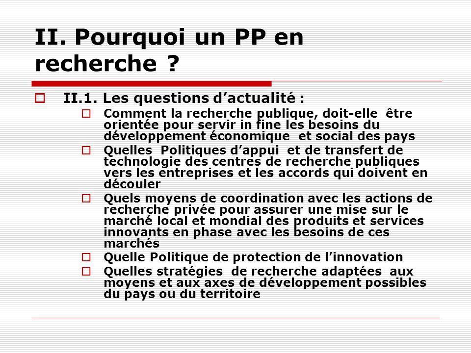 II. Pourquoi un PP en recherche . II.1.