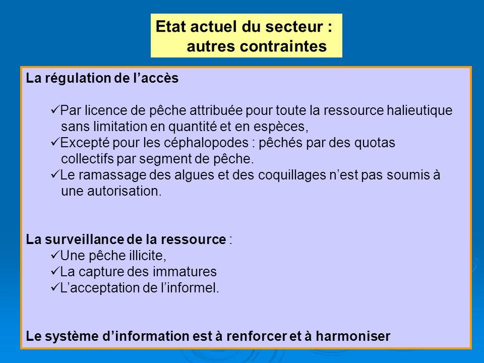 Etat actuel du secteur : autres contraintes La régulation de laccès Par licence de pêche attribuée pour toute la ressource halieutique sans limitation