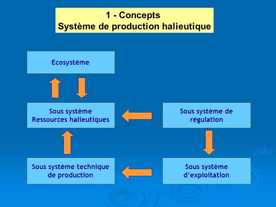 Ecosystème Sous système Ressources halieutiques Sous système de régulation Sous système technique de production Sous système dexploitation 1 - Concept