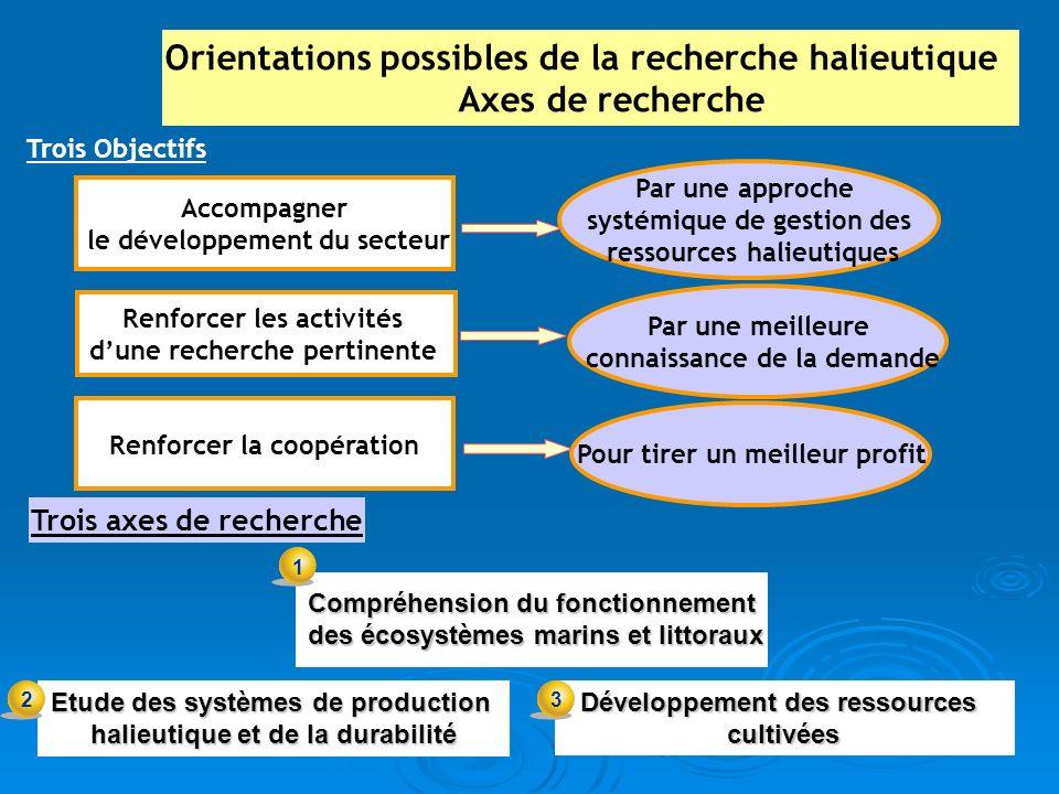 Accompagner le développement du secteur Etude des systèmes de production halieutique et de la durabilité Renforcer la coopération Renforcer les activi