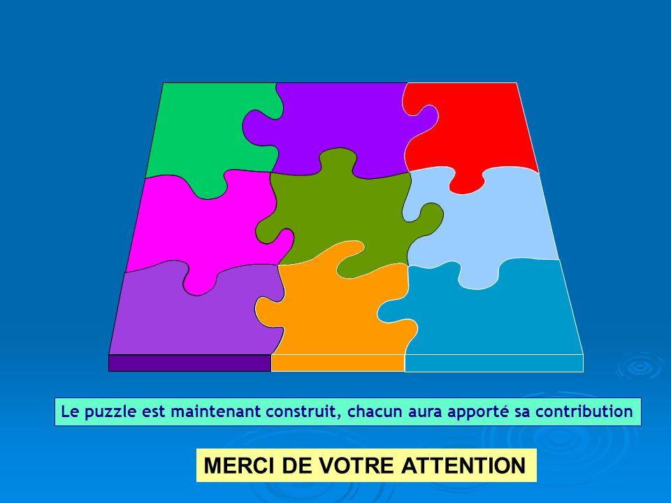 Le puzzle est maintenant construit, chacun aura apporté sa contribution MERCI DE VOTRE ATTENTION
