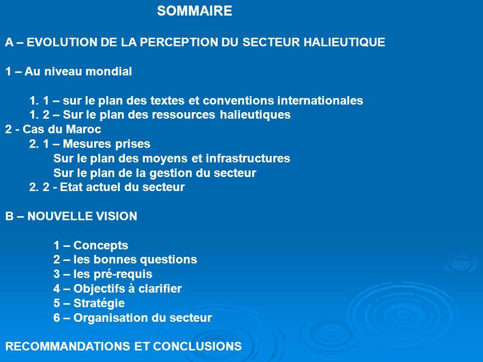 SOMMAIRE A – EVOLUTION DE LA PERCEPTION DU SECTEUR HALIEUTIQUE 1 – Au niveau mondial 1. 1 – sur le plan des textes et conventions internationales 1. 2