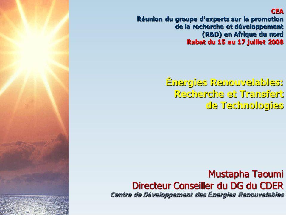 CEA Réunion du groupe d'experts sur la promotion de la recherche et développement (R&D) en Afrique du nord Rabat du 15 au 17 juillet 2008 É nergies Re