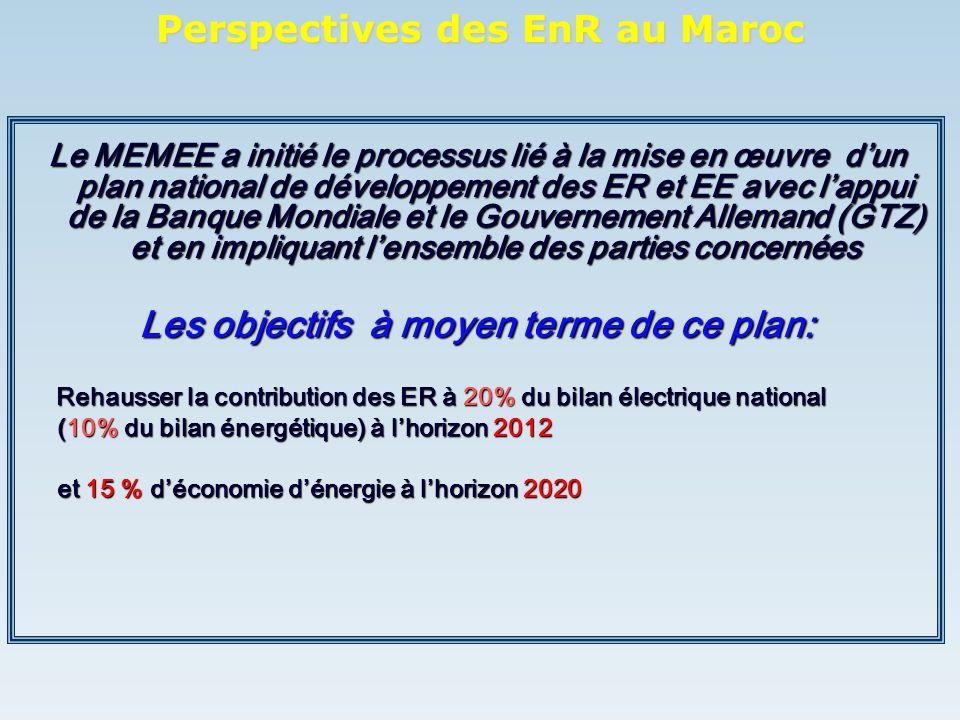 Le MEMEE a initié le processus lié à la mise en œuvre dun plan national de développement des ER et EE avec lappui de la Banque Mondiale et le Gouverne