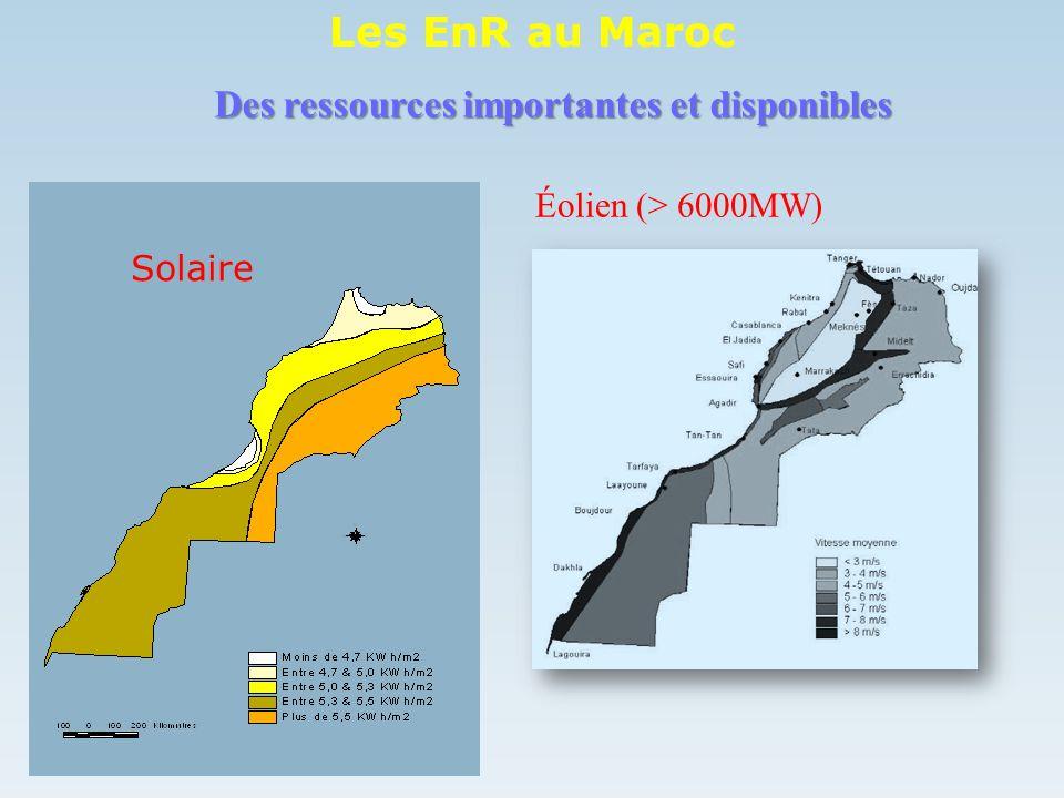 Éolien (> 6000MW) Des ressources importantes et disponibles Solaire Les EnR au Maroc