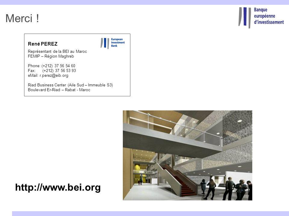 René PEREZ Représentant de la BEI au Maroc FEMIP – Région Maghreb Phone: (+212) 37 56 54 60 Fax: (+212) 37 56 53 93 eMail: r.perez@eib.org Riad Busine