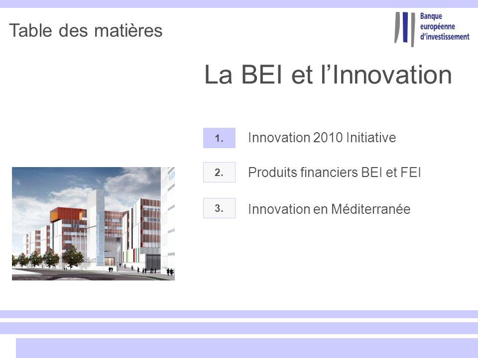 Table des matières 2. Produits financiers BEI et FEI 1. Innovation 2010 Initiative 3. La BEI et lInnovation Innovation en Méditerranée