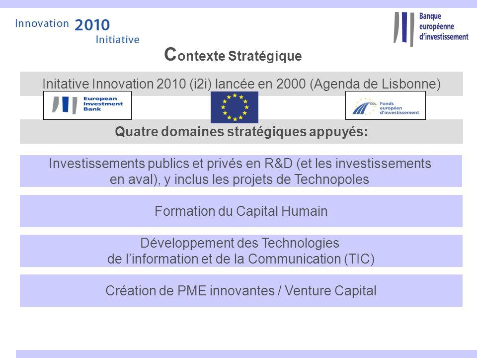 C ontexte Stratégique Investissements publics et privés en R&D (et les investissements en aval), y inclus les projets de Technopoles Formation du Capi