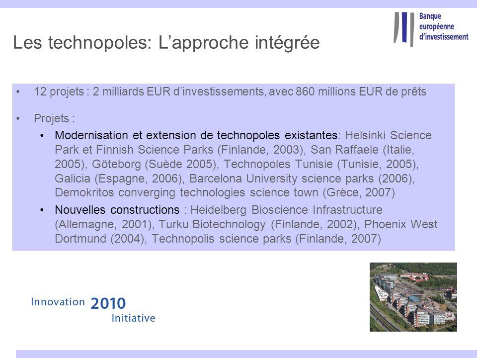 Les technopoles: Lapproche intégrée 12 projets : 2 milliards EUR dinvestissements, avec 860 millions EUR de prêts Projets : Modernisation et extension