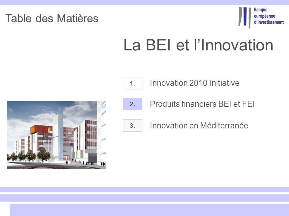 Table des Matières 2. Produits financiers BEI et FEI 1. Innovation 2010 Initiative 3. Innovation en Méditerranée La BEI et lInnovation