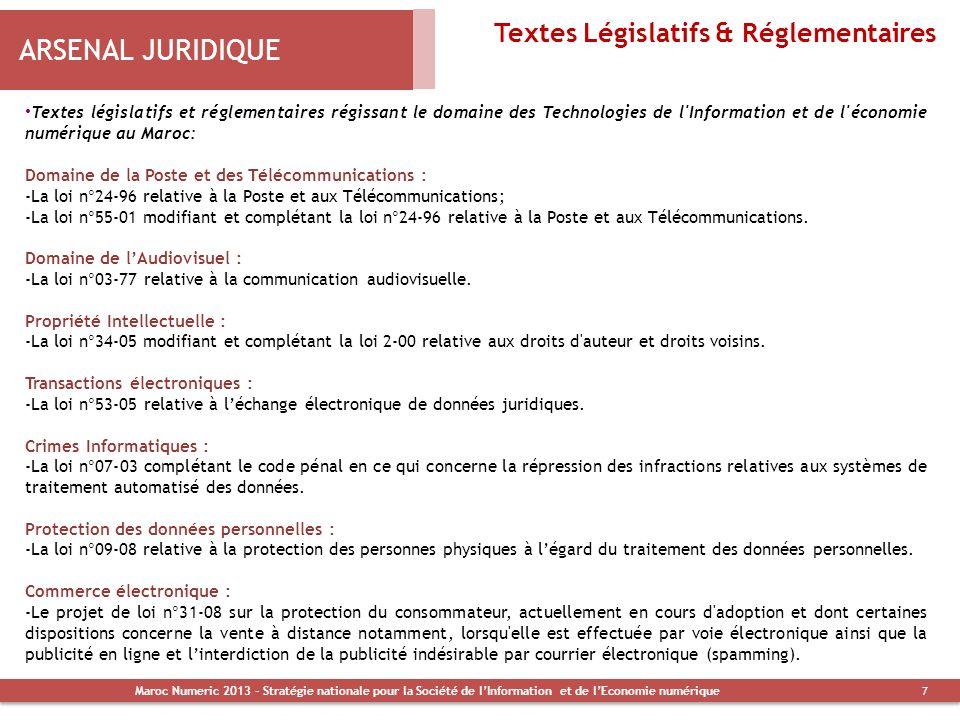 ARSENAL JURIDIQUE Textes Législatifs & Réglementaires Textes législatifs et réglementaires régissant le domaine des Technologies de l'Information et d