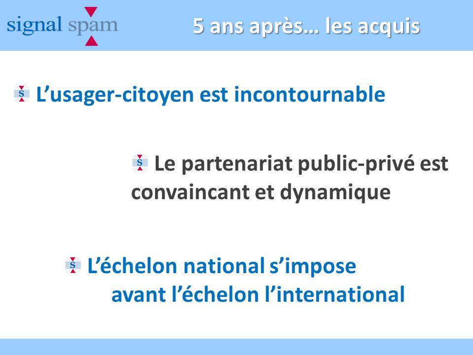 5 ans après… les acquis Lusager-citoyen est incontournable Le partenariat public-privé est convaincant et dynamique Léchelon national simpose avant léchelon linternational
