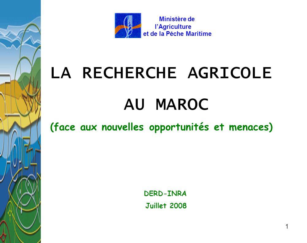 1 LA RECHERCHE AGRICOLE AU MAROC (face aux nouvelles opportunités et menaces) DERD-INRA Juillet 2008 Ministère de lAgriculture et de la Pêche Maritime