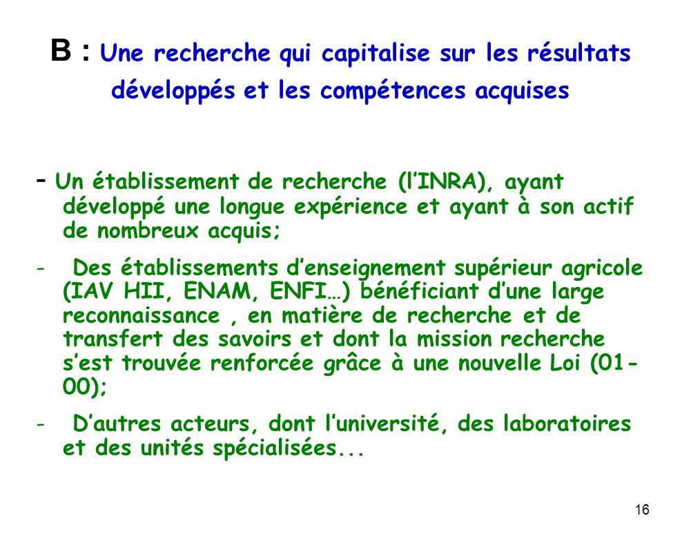 16 B : Une recherche qui capitalise sur les résultats développés et les compétences acquises - Un établissement de recherche (lINRA), ayant développé