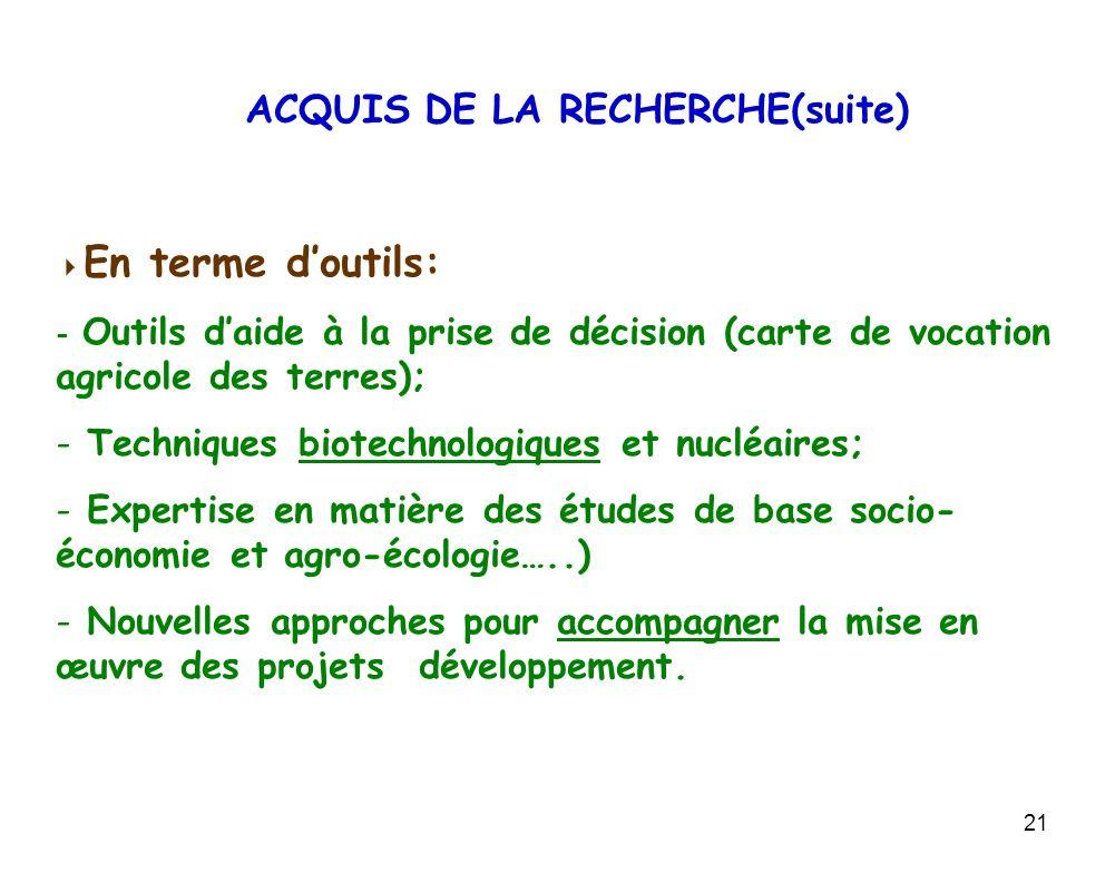 21 En terme doutils: - Outils daide à la prise de décision (carte de vocation agricole des terres); - Techniques biotechnologiques et nucléaires; - Ex