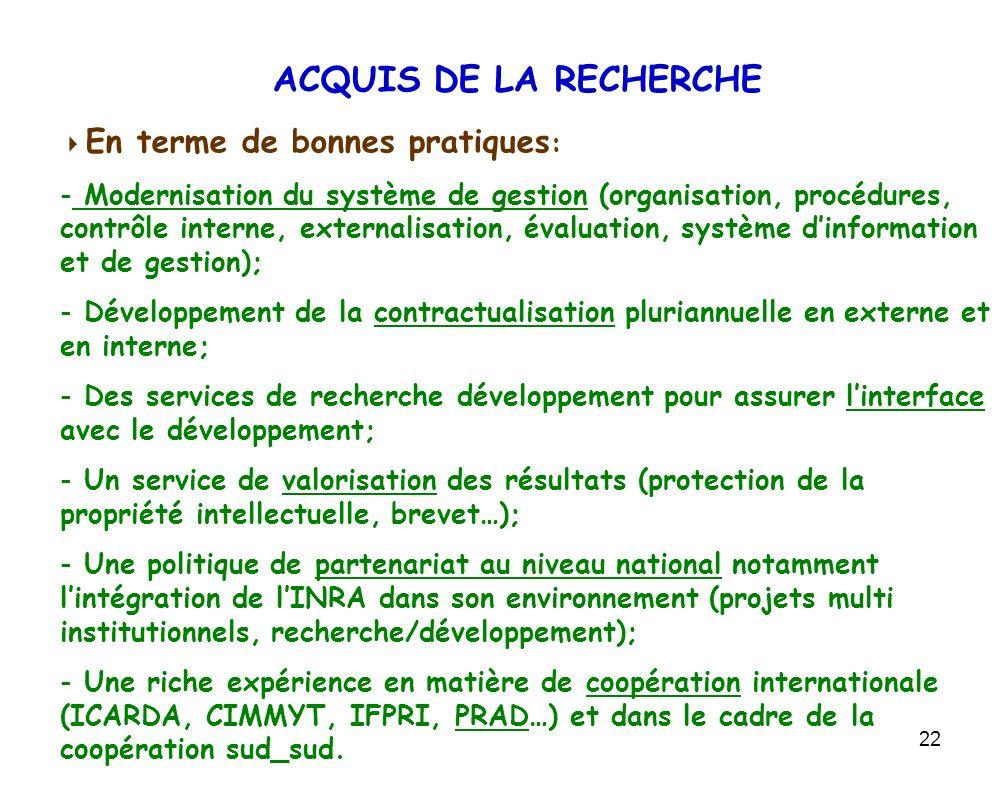 22 ACQUIS DE LA RECHERCHE En terme de bonnes pratiques : - Modernisation du système de gestion (organisation, procédures, contrôle interne, externalis