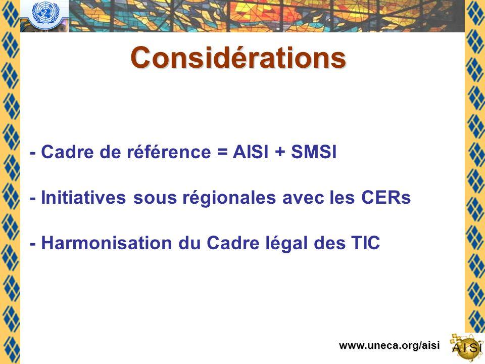 www.uneca.org/aisi Considérations - Cadre de référence = AISI + SMSI - Initiatives sous régionales avec les CERs - Harmonisation du Cadre légal des TIC