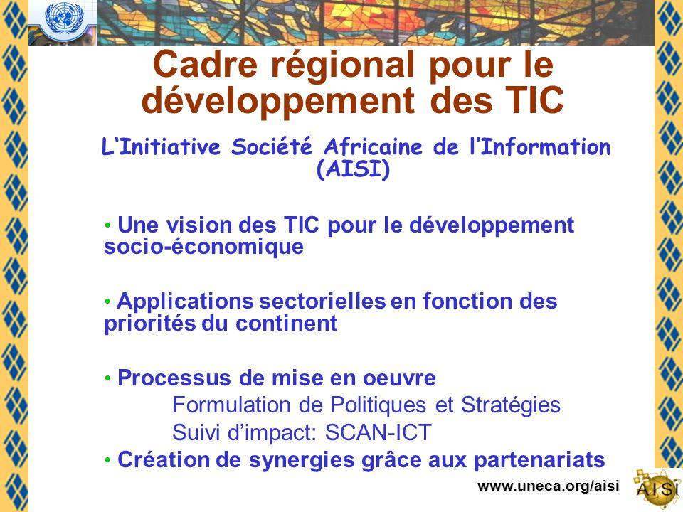 www.uneca.org/aisi Cadre régional pour le développement des TIC LInitiative Société Africaine de lInformation (AISI) Une vision des TIC pour le développement socio-économique Applications sectorielles en fonction des priorités du continent Processus de mise en oeuvre Formulation de Politiques et Stratégies Suivi dimpact: SCAN-ICT Création de synergies grâce aux partenariats