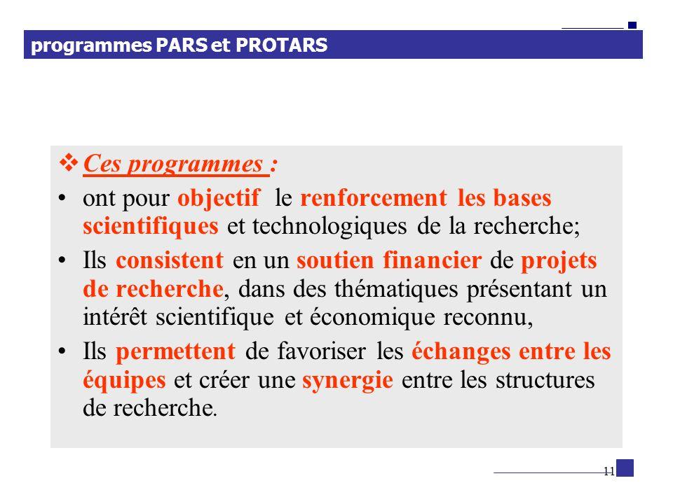 11 Ces programmes : ont pour objectif le renforcement les bases scientifiques et technologiques de la recherche; Ils consistent en un soutien financie