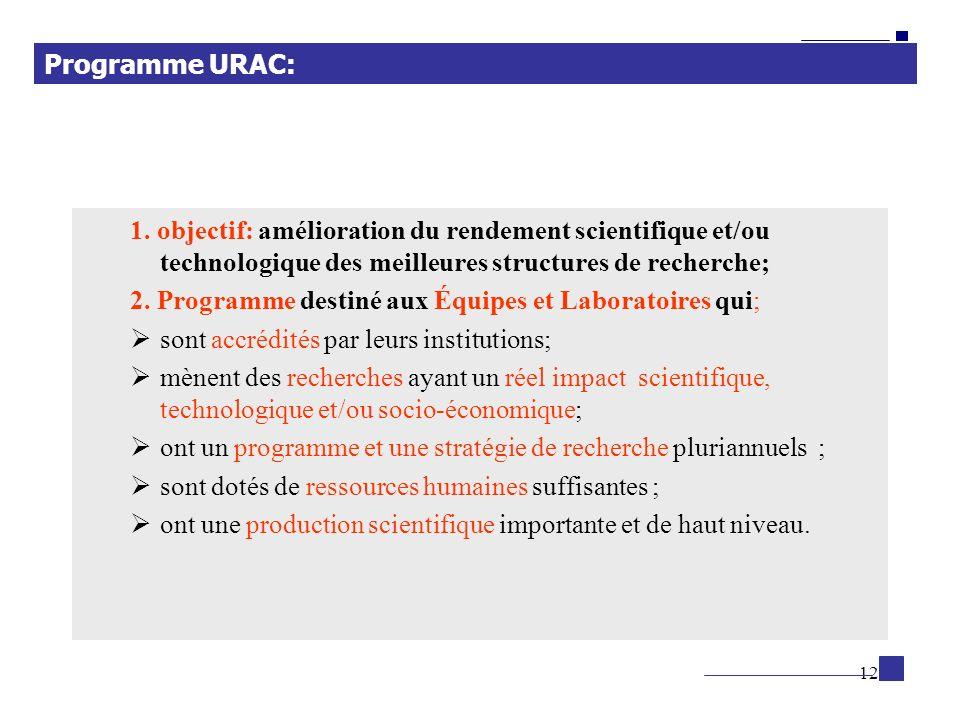 12 1. objectif: amélioration du rendement scientifique et/ou technologique des meilleures structures de recherche; 2. Programme destiné aux Équipes et