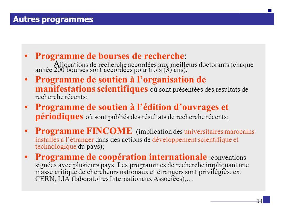 14 Programme de bourses de recherche: A llocations de recherche accordées aux meilleurs doctorants (chaque année 200 bourses sont accordées pour trois