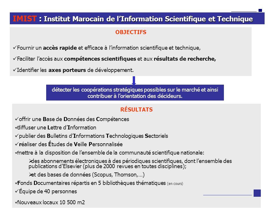 6 : Institut Marocain de lInformation Scientifique et Technique IMIST : Institut Marocain de lInformation Scientifique et Technique OBJECTIFS Fournir