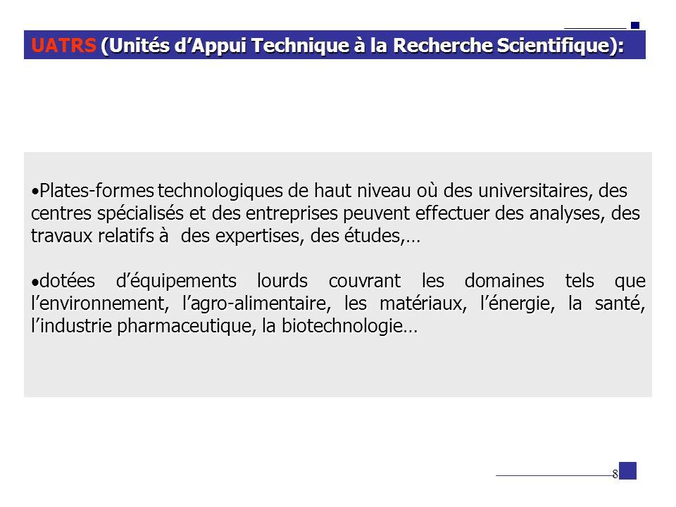 8 (Unités dAppui Technique à la Recherche Scientifique): UATRS (Unités dAppui Technique à la Recherche Scientifique): Plates-formes technologiques de