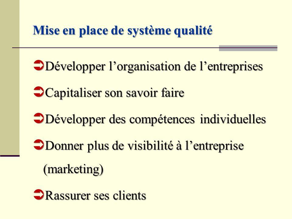Mise en place de système qualité Développer lorganisation de lentreprises Développer lorganisation de lentreprises Capitaliser son savoir faire Capita