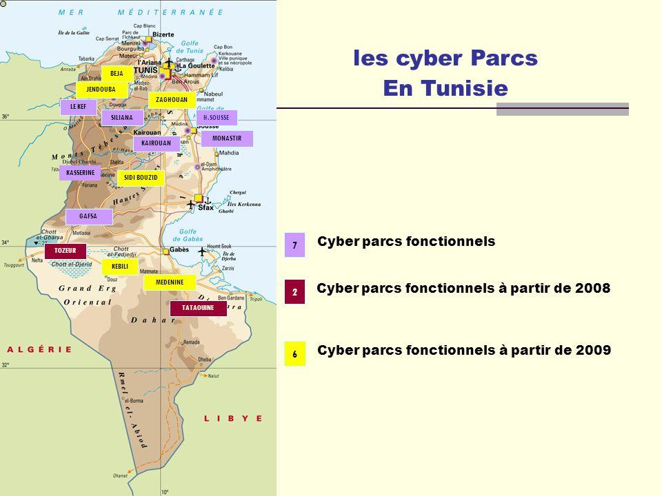 les cyber Parcs En Tunisie LE KEF KASSERINE SILIANA GAFSA MONASTIR H.SOUSSE KAIROUAN TOZEUR MEDENINE TATAOUINE KEBILI BEJA JENDOUBA ZAGHOUAN SIDI BOUZ