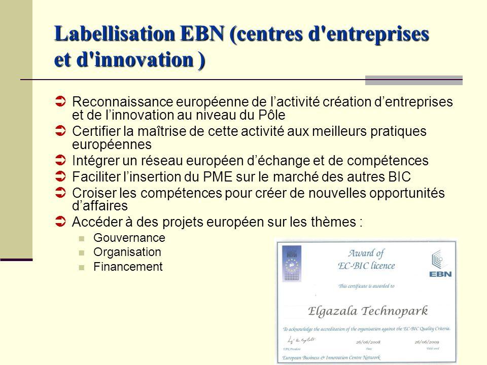 Labellisation EBN (centres d'entreprises et d'innovation ) Reconnaissance européenne de lactivité création dentreprises et de linnovation au niveau du