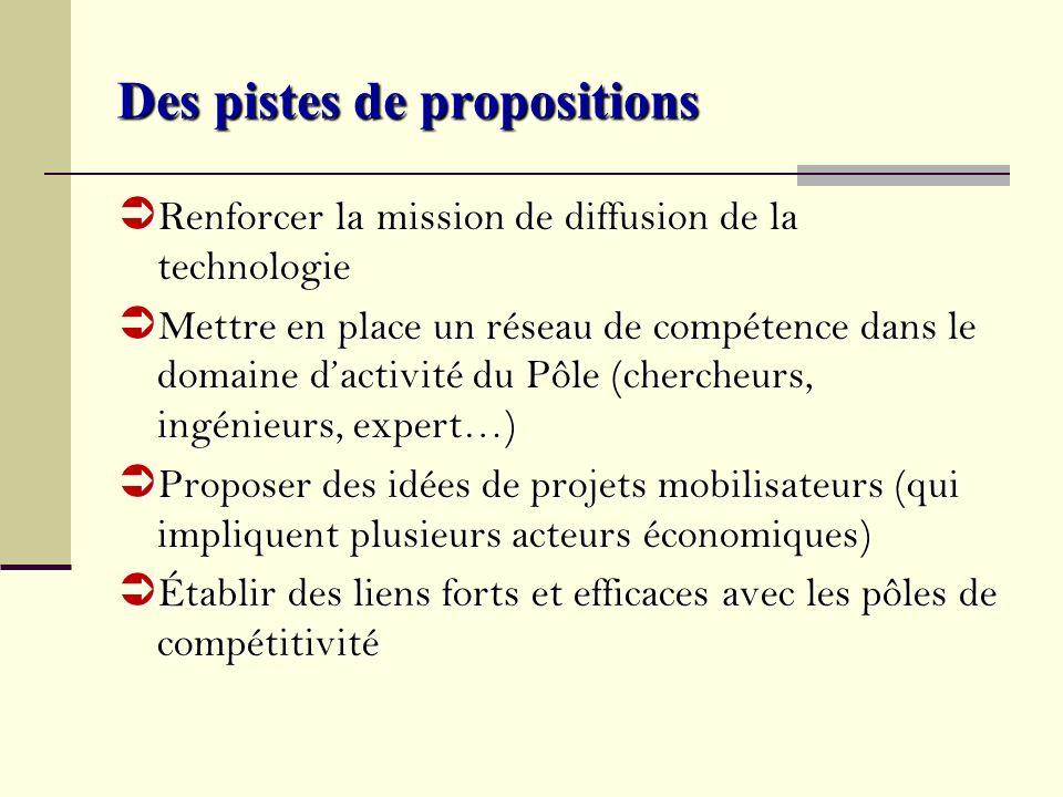 Des pistes de propositions Renforcer la mission de diffusion de la technologie Renforcer la mission de diffusion de la technologie Mettre en place un
