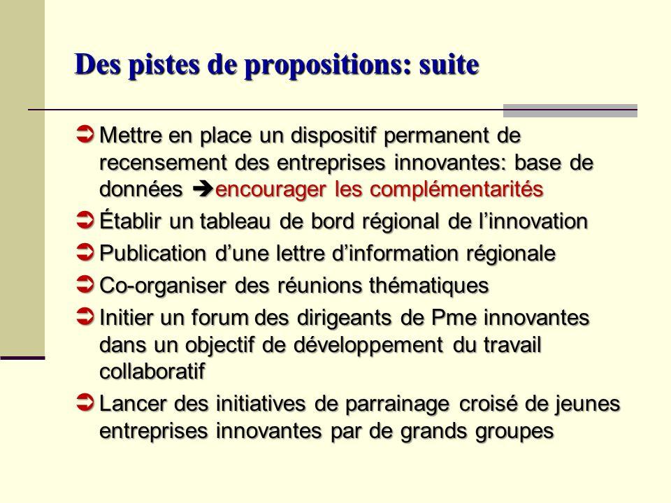 Des pistes de propositions: suite Mettre en place un dispositif permanent de recensement des entreprises innovantes: base de données encourager les co