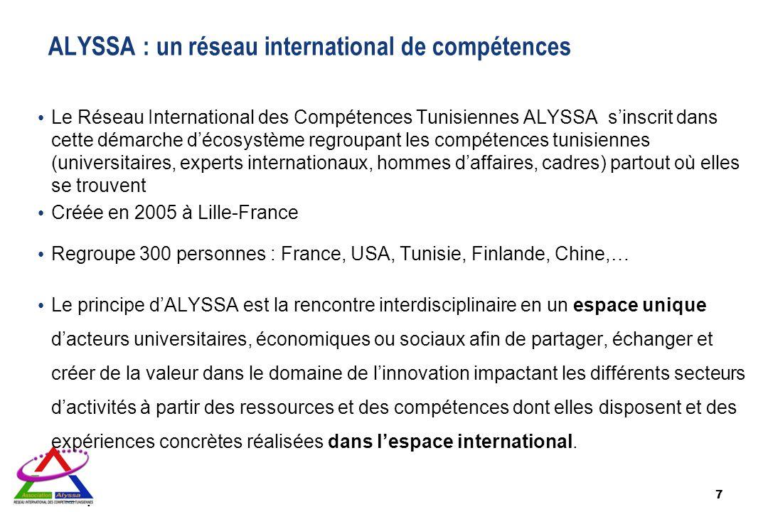 7 Le Réseau International des Compétences Tunisiennes ALYSSA sinscrit dans cette démarche décosystème regroupant les compétences tunisiennes (universi